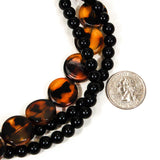 1970's Black Faux Tortoise Beaded Necklace, Necklaces - Vintage Meet Modern