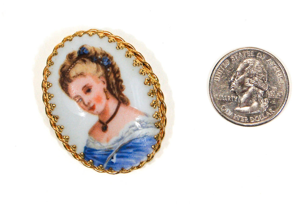 1960's Lady in Blue Portrait Brooch, Brooches - Vintage Meet Modern