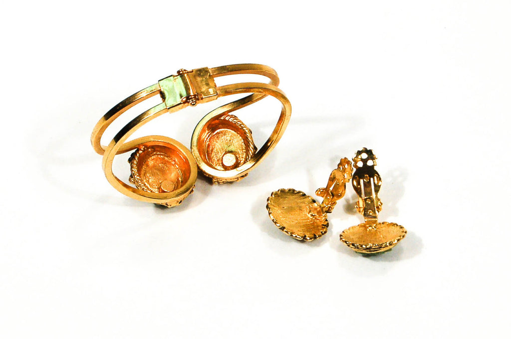 1960's Gold Tone Jade Chip Earrings and Bracelet Set, Jewelry Sets - Vintage Meet Modern