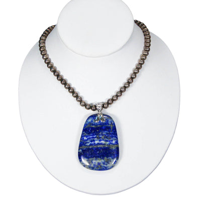 Bohemian Chic Sodalite Statement Pendant set in Sterling Silver by Sterling Silver - Vintage Meet Modern Vintage Jewelry - Chicago, Illinois - #oldhollywoodglamour #vintagemeetmodern #designervintage #jewelrybox #antiquejewelry #vintagejewelry