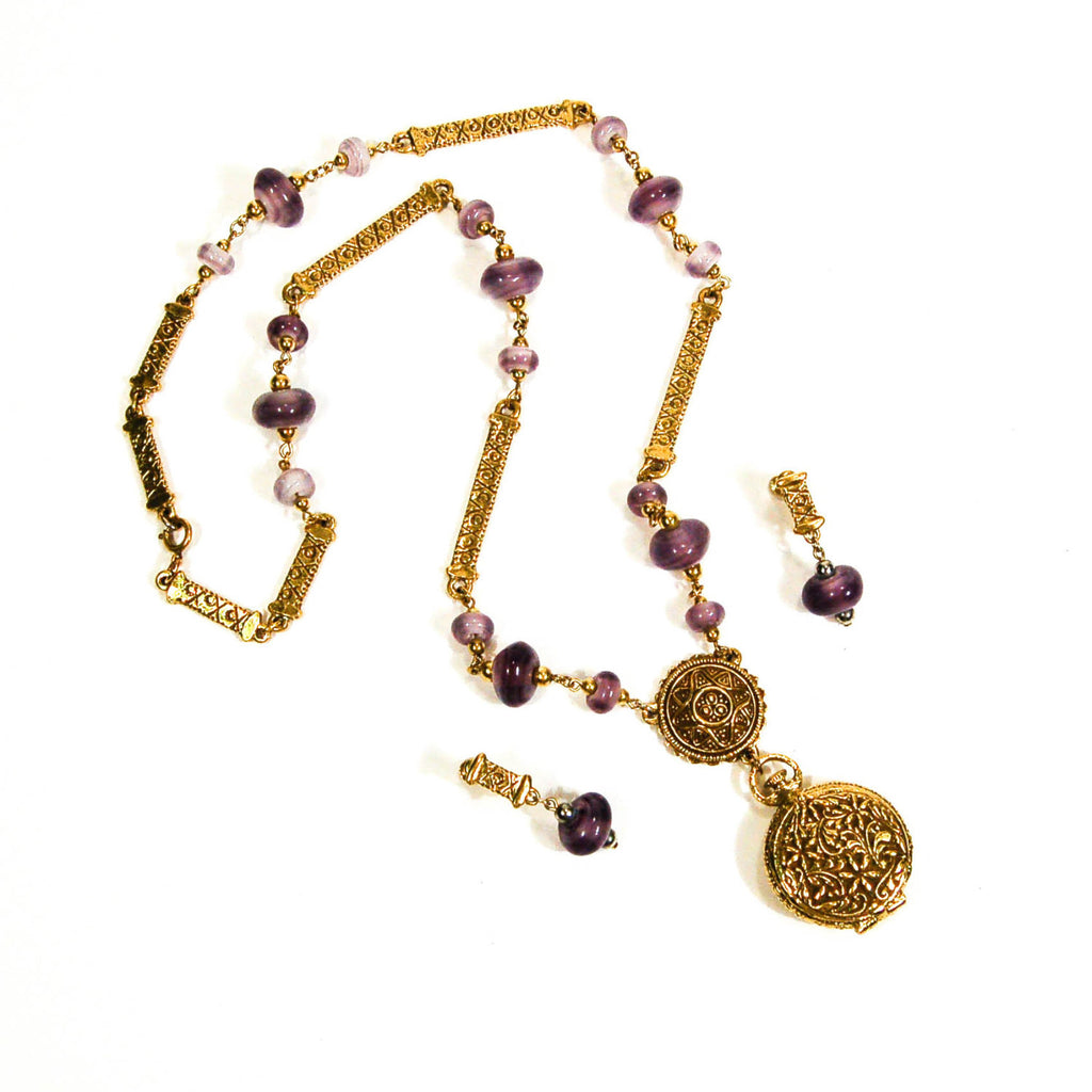 Amethyst Art Glass Locket Necklace and Earrings by Goldette, Jewelry Sets - Vintage Meet Modern