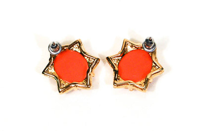 1980's Coral CZ Star Earrings by 1980s - Vintage Meet Modern Vintage Jewelry - Chicago, Illinois - #oldhollywoodglamour #vintagemeetmodern #designervintage #jewelrybox #antiquejewelry #vintagejewelry