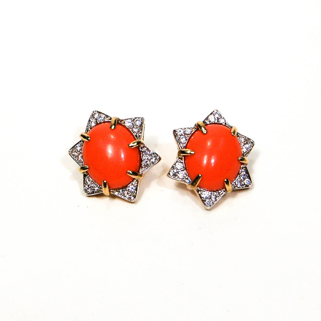 1980's Coral CZ Star Earrings, Earrings - Vintage Meet Modern