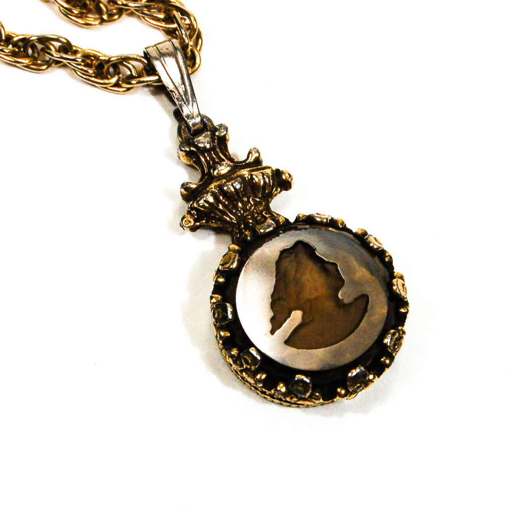 Intaglio Cameo Necklace with Topaz Crystal by Goldette - Vintage Meet Modern  - 2