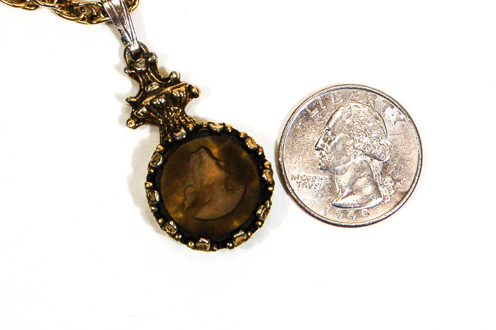 Intaglio Cameo Necklace with Topaz Crystal by Goldette - Vintage Meet Modern  - 3