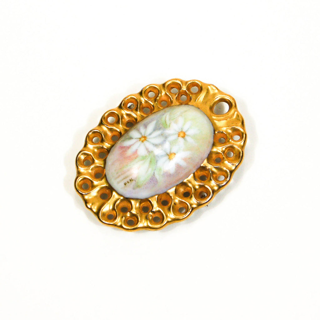 1970's Pastel Hand Painted Daisy Brooch by Don Kensinger, Brooches - Vintage Meet Modern