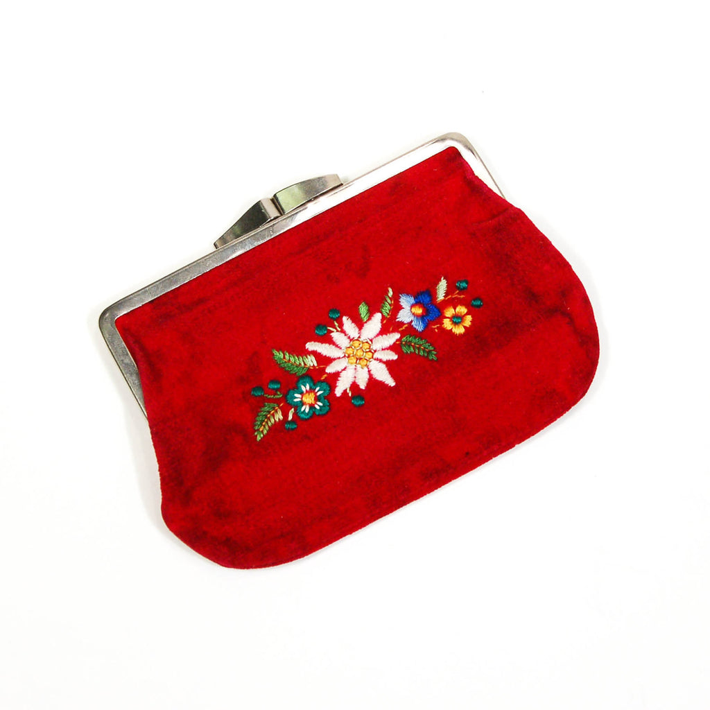 Red Velvet Coin Purse, Embroidered Flowers, Vintage, Purses - Vintage Meet Modern