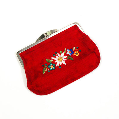 Red Velvet Coin Purse, Embroidered Flowers, Vintage by 1970's - Vintage Meet Modern Vintage Jewelry - Chicago, Illinois - #oldhollywoodglamour #vintagemeetmodern #designervintage #jewelrybox #antiquejewelry #vintagejewelry