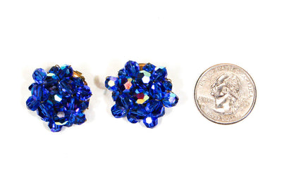 Swarovski Blue Aurora Borealis Earrings by Swarovski - Vintage Meet Modern - Chicago, Illinois