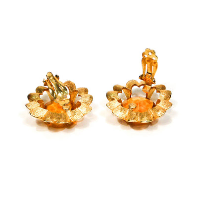 1960's Amber Flower Earrings by Judy Lee by Judy Lee - Vintage Meet Modern - Chicago, Illinois