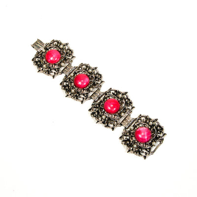 1950's Silver and Pink Lucite Victorian Gothic Bracelet by 1950's - Vintage Meet Modern Vintage Jewelry - Chicago, Illinois - #oldhollywoodglamour #vintagemeetmodern #designervintage #jewelrybox #antiquejewelry #vintagejewelry