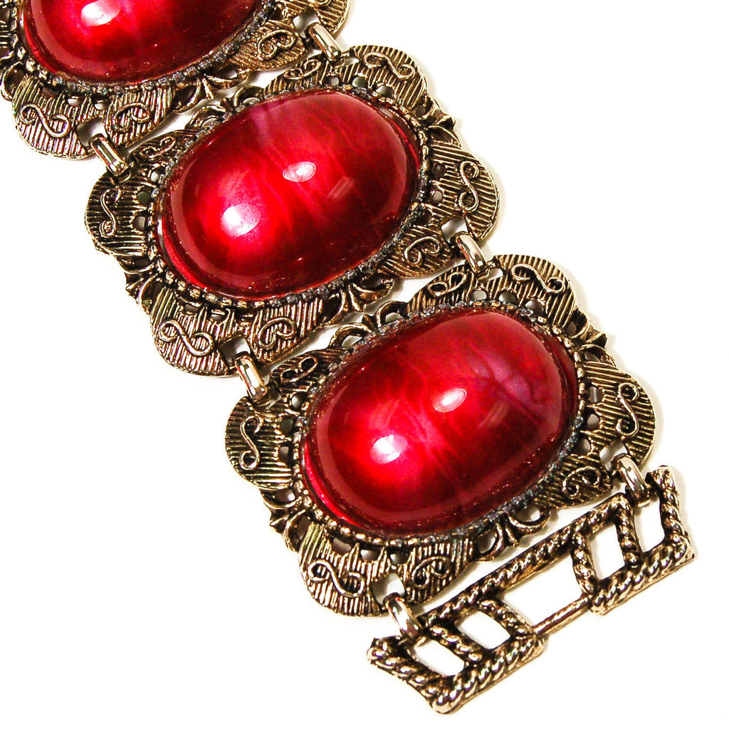 1960's Red and Gold Filigree Wide and Chunky Gothic Revival Bracelet, Bracelet - Vintage Meet Modern
