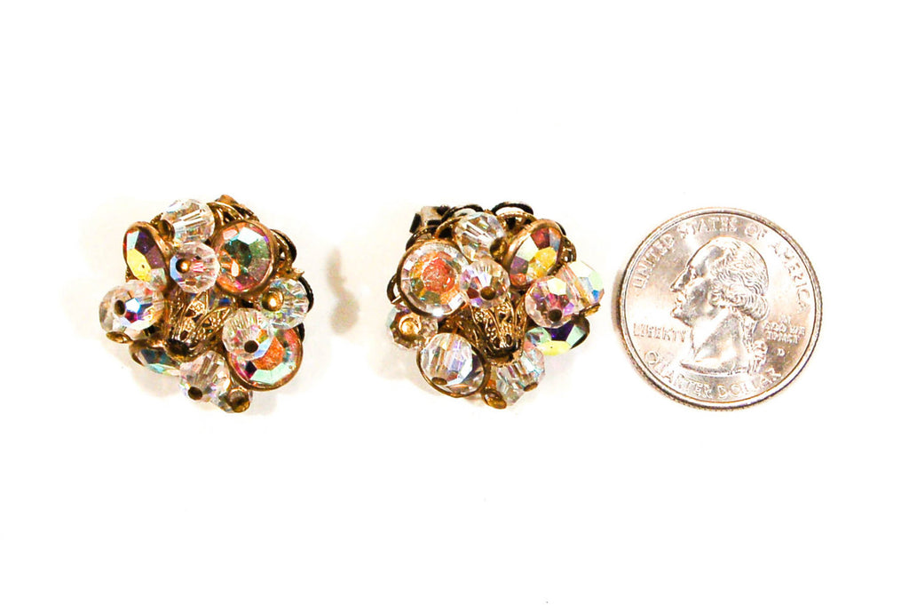 Crystal and Rhinestone Clip On Earrings by Alice Caviness - Vintage Meet Modern  - 2