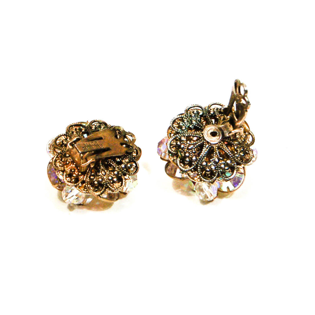 Crystal and Rhinestone Clip On Earrings by Alice Caviness - Vintage Meet Modern  - 3
