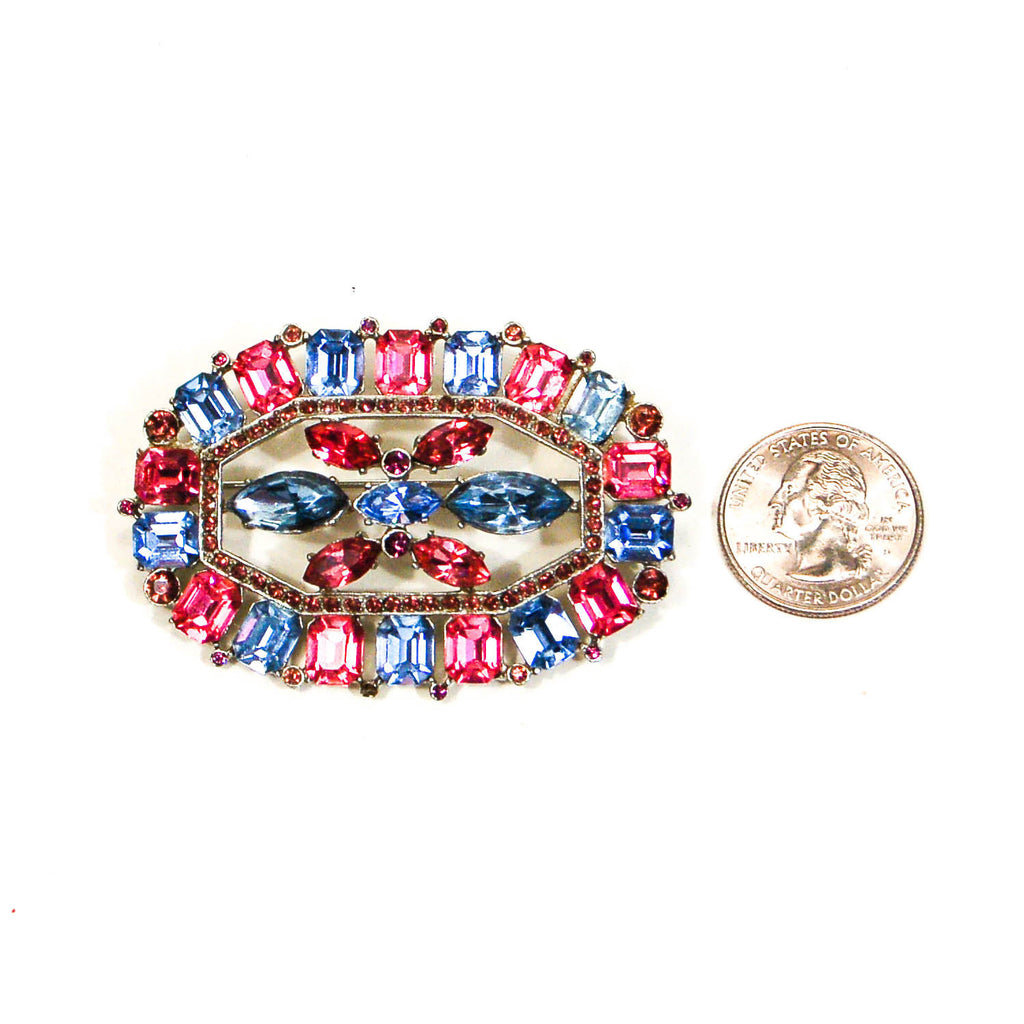 1940's Art Deco Blue and Pink Rhinestone Brooch, Brooches - Vintage Meet Modern