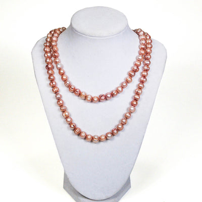 1980's Rose Cultured Freshwater Pearl Necklace, Necklaces - Vintage Meet Modern