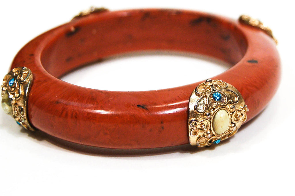 Burnt Orange Lucite Bangle Bracelet, Bracelet - Vintage Meet Modern