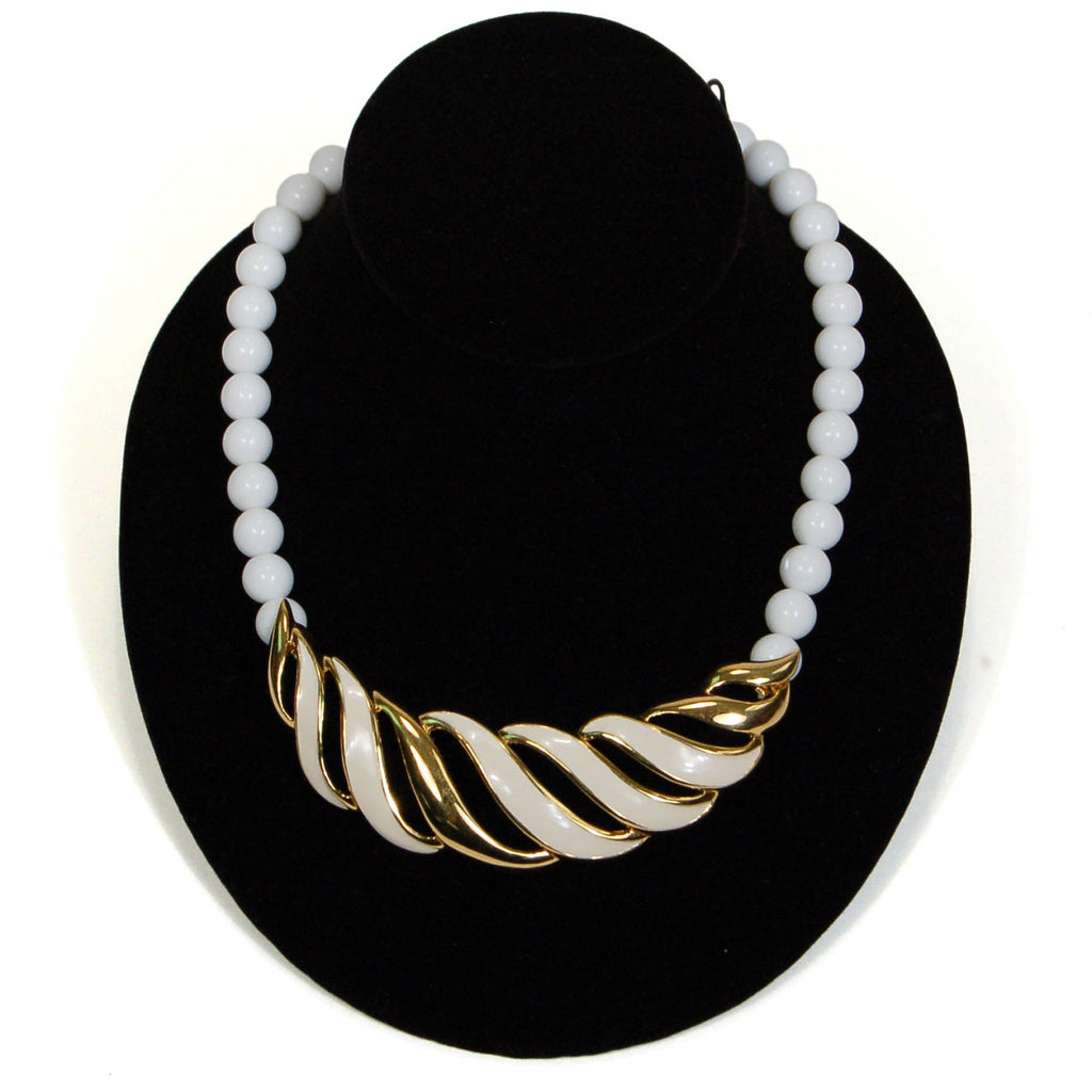 White and Gold Statement Necklace by Monet - Vintage Meet Modern  - 3