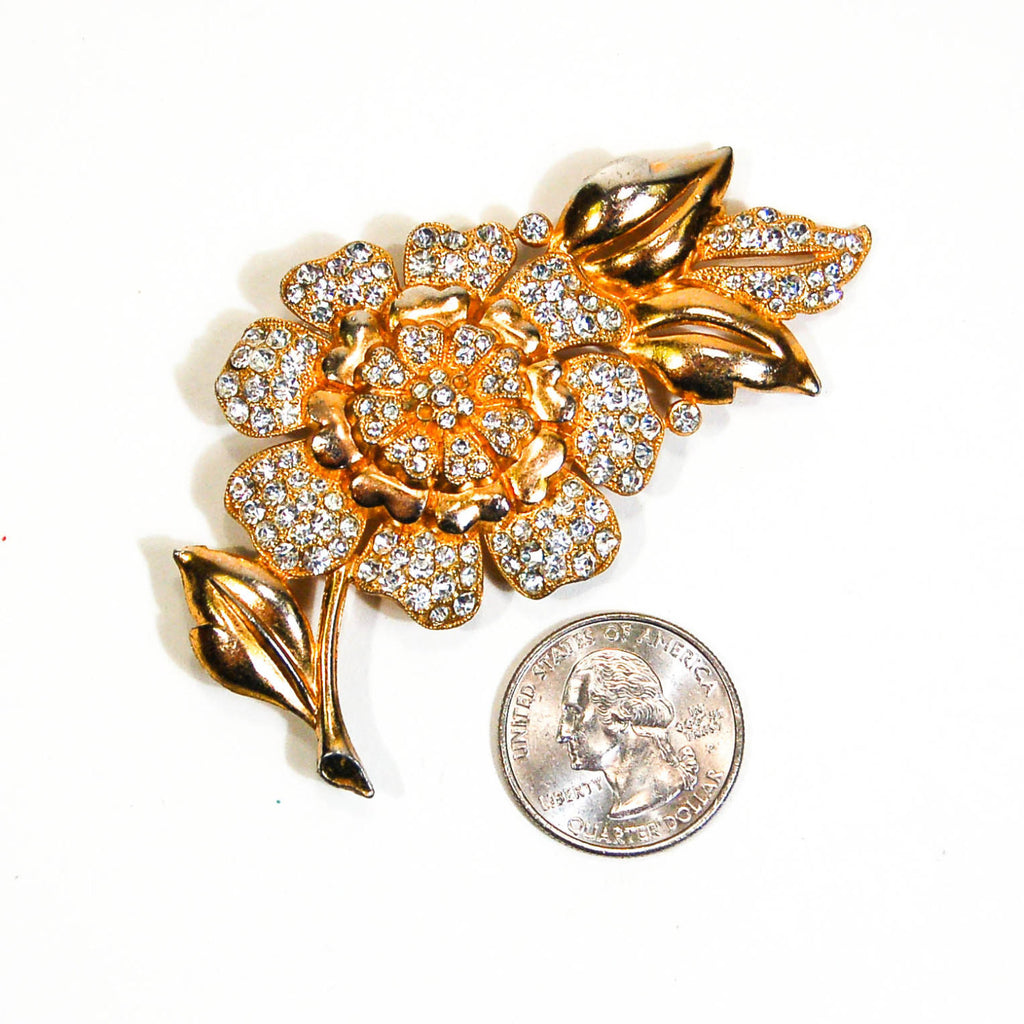 1940's Gilt Gold Rhinestone Flower Brooch, Brooches - Vintage Meet Modern