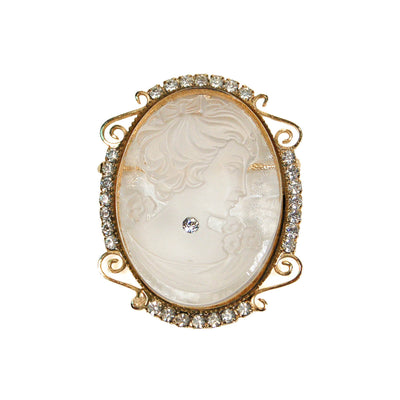 1960's Gold Tone Lucite Cameo Pendant Brooch, Brooches - Vintage Meet Modern