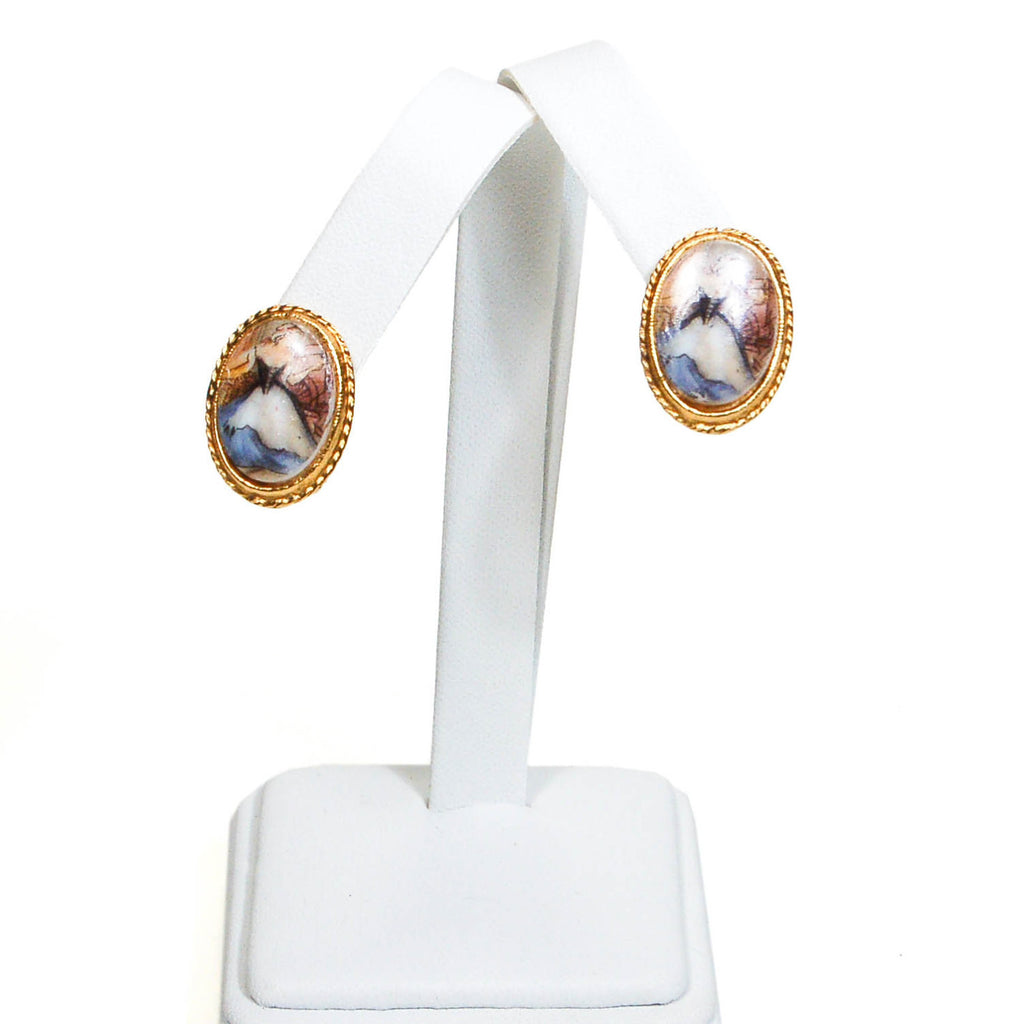 1960's Milk Maid Cameo Earrings, Earrings - Vintage Meet Modern