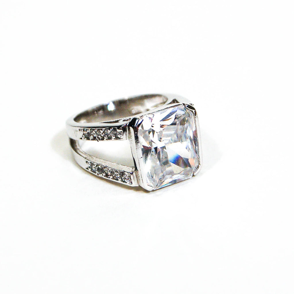 Sterling Silver Princess Cut CZ Engagement Ring by Edco - Vintage Meet Modern  - 1