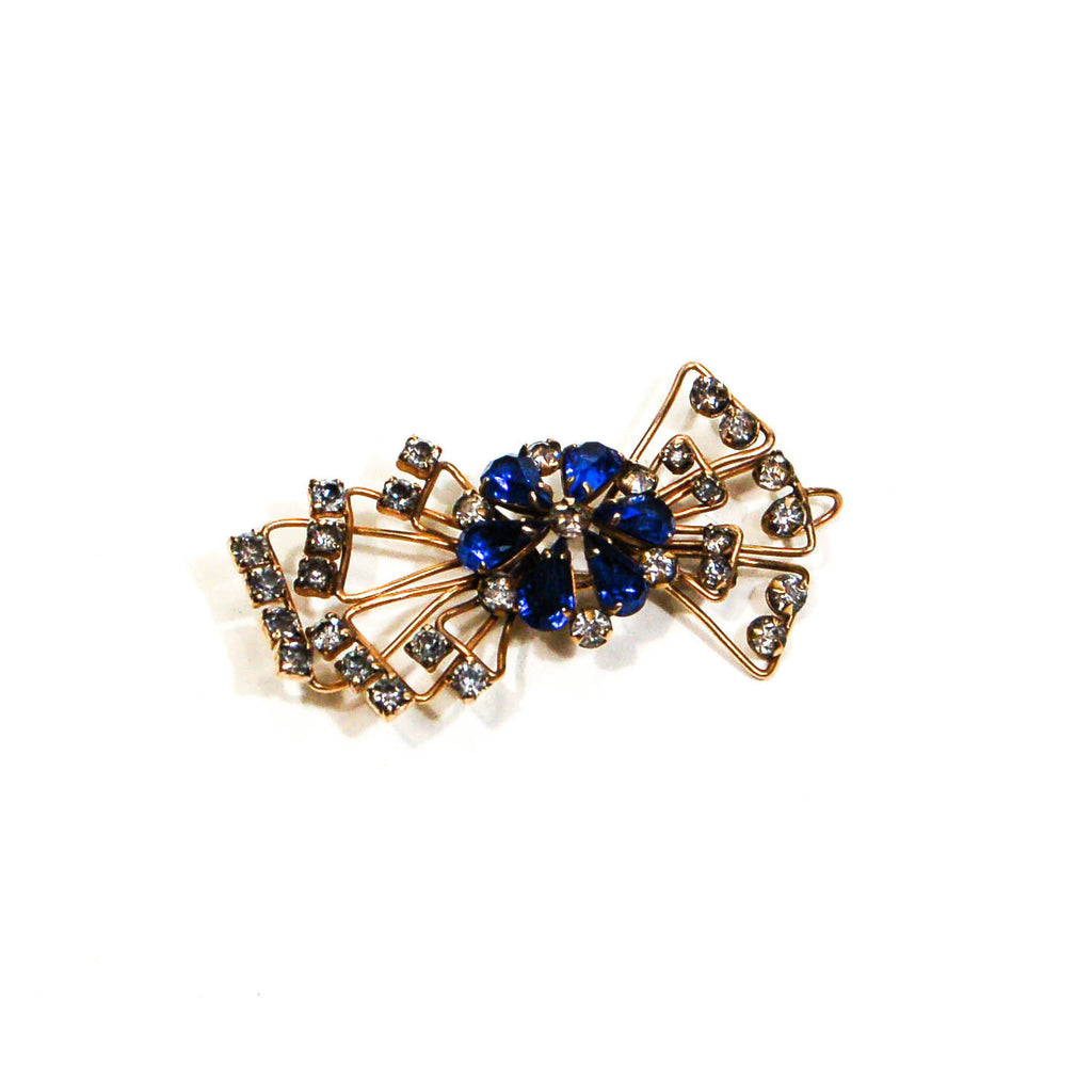 1940s Sapphire Blue Rhinestone Bow Brooch or Pendant Gold Filled Beauty, Brooches - Vintage Meet Modern