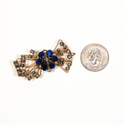 1940s Sapphire Blue Rhinestone Bow Brooch or Pendant Gold Filled Beauty by Marks and Spencer - Vintage Meet Modern - Chicago, Illinois