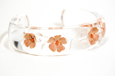 1970's Floral Peach Lucite Cuff Bracelet by 1970's - Vintage Meet Modern Vintage Jewelry - Chicago, Illinois - #oldhollywoodglamour #vintagemeetmodern #designervintage #jewelrybox #antiquejewelry #vintagejewelry