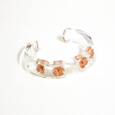 1970's Floral Peach Lucite Cuff Bracelet by 1970's - Vintage Meet Modern - Chicago, Illinois