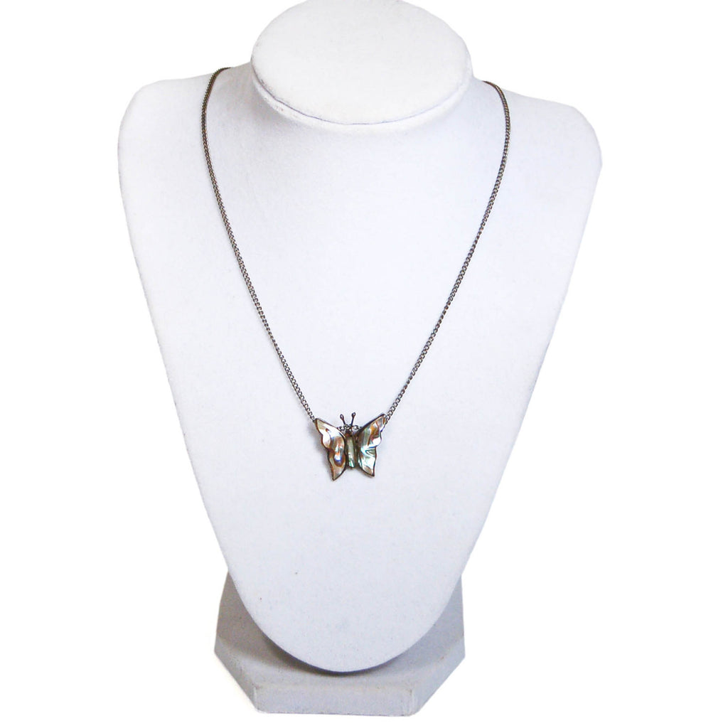 1970's Sterling Silver Abalone Butterfly Pendant, Necklaces - Vintage Meet Modern