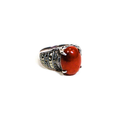 Carnelian and Marcasite Ring by Carnelian and Marcasite - Vintage Meet Modern Vintage Jewelry - Chicago, Illinois - #oldhollywoodglamour #vintagemeetmodern #designervintage #jewelrybox #antiquejewelry #vintagejewelry