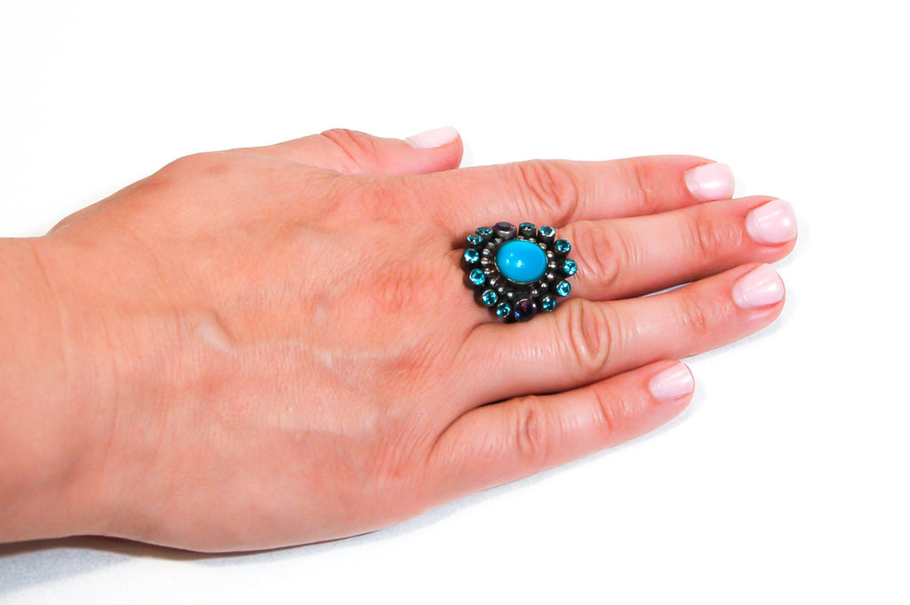 Sterling Silver Turquoise and Amethyst Ring by Nicky Butler, rings - Vintage Meet Modern