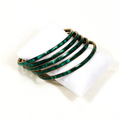 Set of 5 1970's Emerald Green Brass Bangles by 1970's - Vintage Meet Modern - Chicago, Illinois