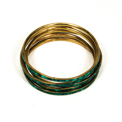 Set of 5 1970's Emerald Green Brass Bangles by 1970's - Vintage Meet Modern Vintage Jewelry - Chicago, Illinois - #oldhollywoodglamour #vintagemeetmodern #designervintage #jewelrybox #antiquejewelry #vintagejewelry