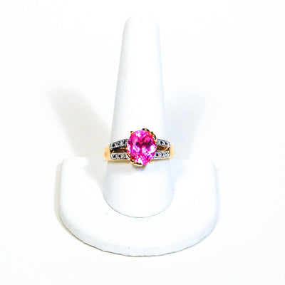 Hot Pink CZ Statement Solitaire Ring by 1980s - Vintage Meet Modern Vintage Jewelry - Chicago, Illinois - #oldhollywoodglamour #vintagemeetmodern #designervintage #jewelrybox #antiquejewelry #vintagejewelry