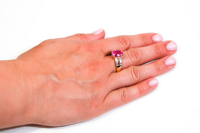Hot Pink CZ Statement Solitaire Ring by 1980s - Vintage Meet Modern - Chicago, Illinois