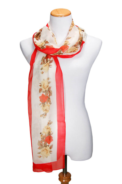 Cream Silk Scarf with Red Roses by Perry Ellis by Perry Ellis - Vintage Meet Modern - Chicago, Illinois