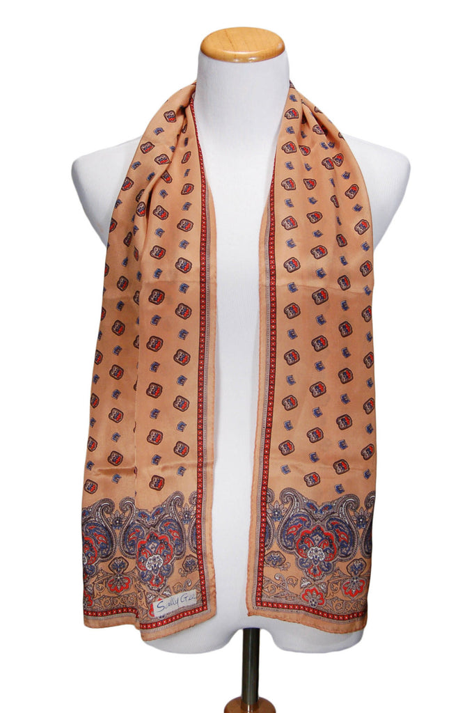 Earth Tone Paisley Silk Scarf by Sally Gee - Vintage Meet Modern  - 1