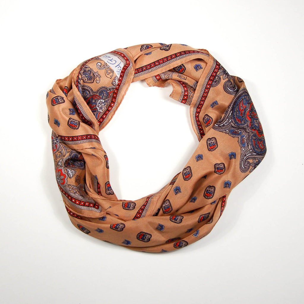 Earth Tone Paisley Silk Scarf by Sally Gee - Vintage Meet Modern  - 3
