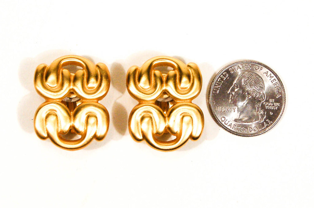 1980's Brushed Gold Knot Earrings by Anne Klein, Earrings - Vintage Meet Modern