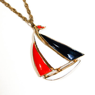 1970's Red, White, and Blue Sailboat Necklace by 1970's - Vintage Meet Modern Vintage Jewelry - Chicago, Illinois - #oldhollywoodglamour #vintagemeetmodern #designervintage #jewelrybox #antiquejewelry #vintagejewelry