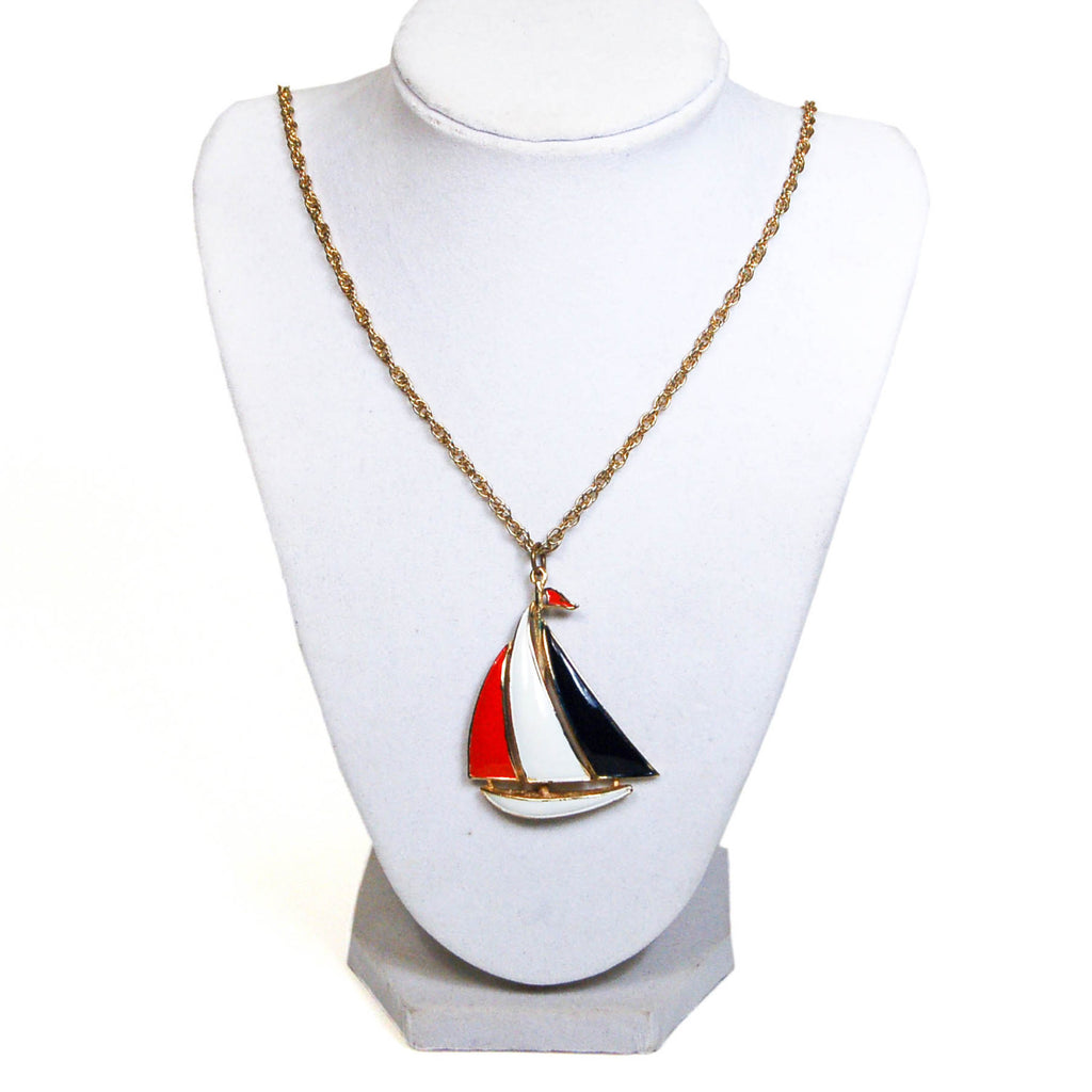 1970's Red, White, and Blue Sailboat Necklace, Necklaces - Vintage Meet Modern