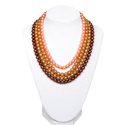 Gold, Bronze, and Chocolate Brown Multi Strand Pearl Necklace by Made in Japan - Vintage Meet Modern - Chicago, Illinois