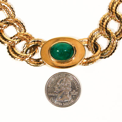 Vintage Ciner Classic Gold Chain Necklace with Faux Jade Accent by Ciner - Vintage Meet Modern - Chicago, Illinois