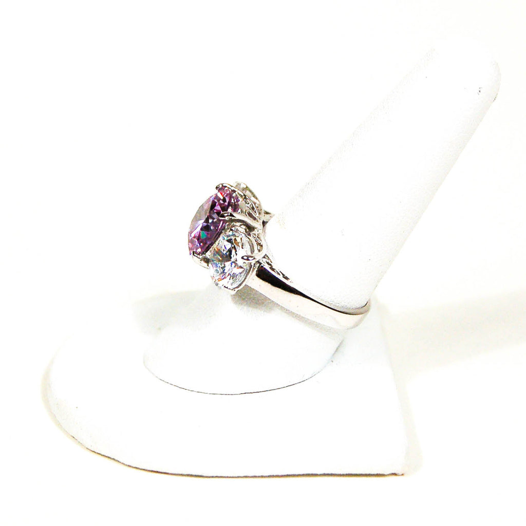 Cubic Zirconia and Amethyst Three Stone Statement Ring - Vintage Meet Modern  - 3