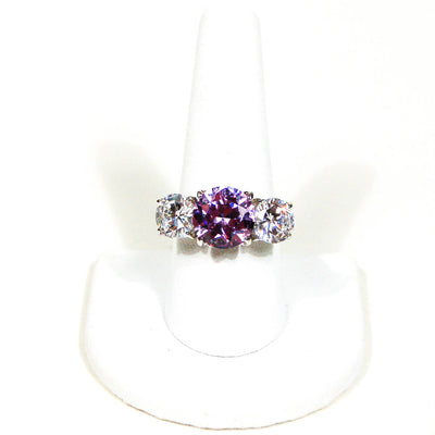 Cubic Zirconia and Amethyst Three Stone Statement Ring by 1980s - Vintage Meet Modern - Chicago, Illinois