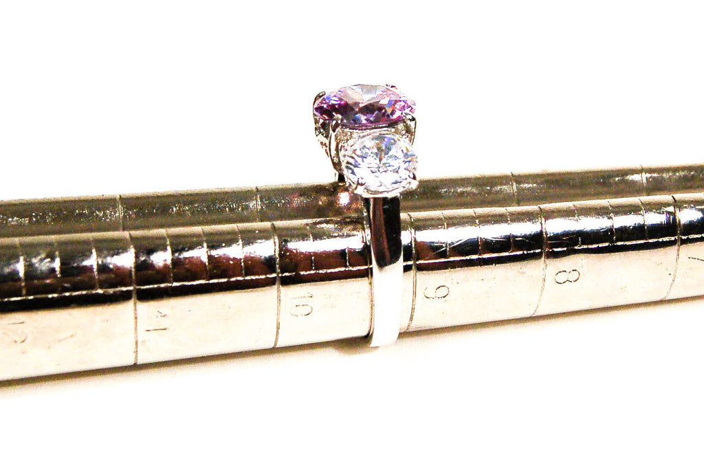 Cubic Zirconia and Amethyst Three Stone Statement Ring - Vintage Meet Modern  - 4