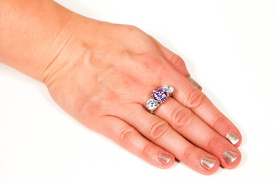 Cubic Zirconia and Amethyst Three Stone Statement Ring, rings - Vintage Meet Modern