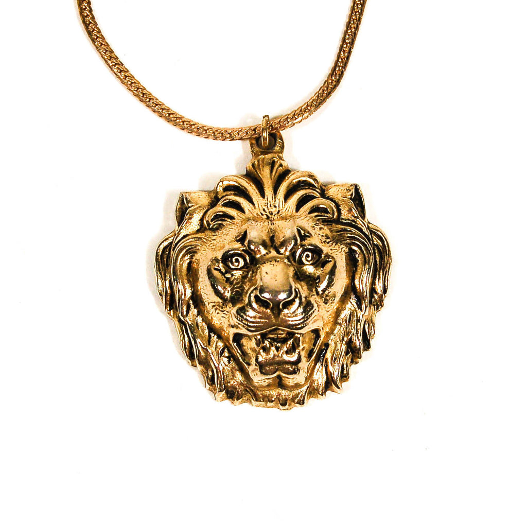 Gold Lion Statement Necklace by Accessocraft NYC - Vintage Meet Modern  - 2